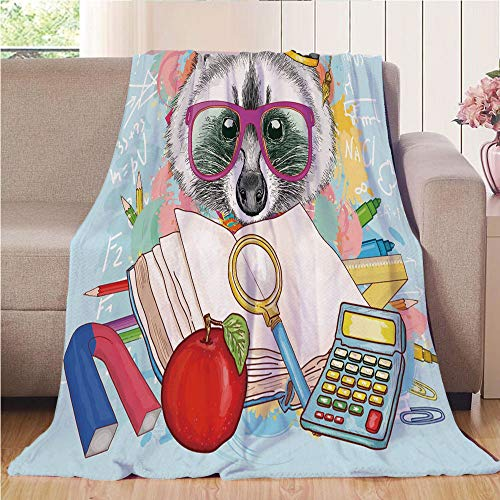 Blanket Comfort Warmth Soft Air Conditioning Easy Care Machine Wash House,Kids,Hipster Animal Student Raccoon with Graduation Cap School Education Study Classroom Decorative,Multicolor,47.25