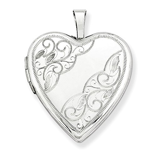 14k White Gold Swirl Etched Heart Locket, 20mm