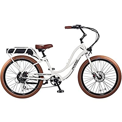 "Pedego Interceptor 26"" Step Thru White with Brown Balloon Package 48V 15Ah"