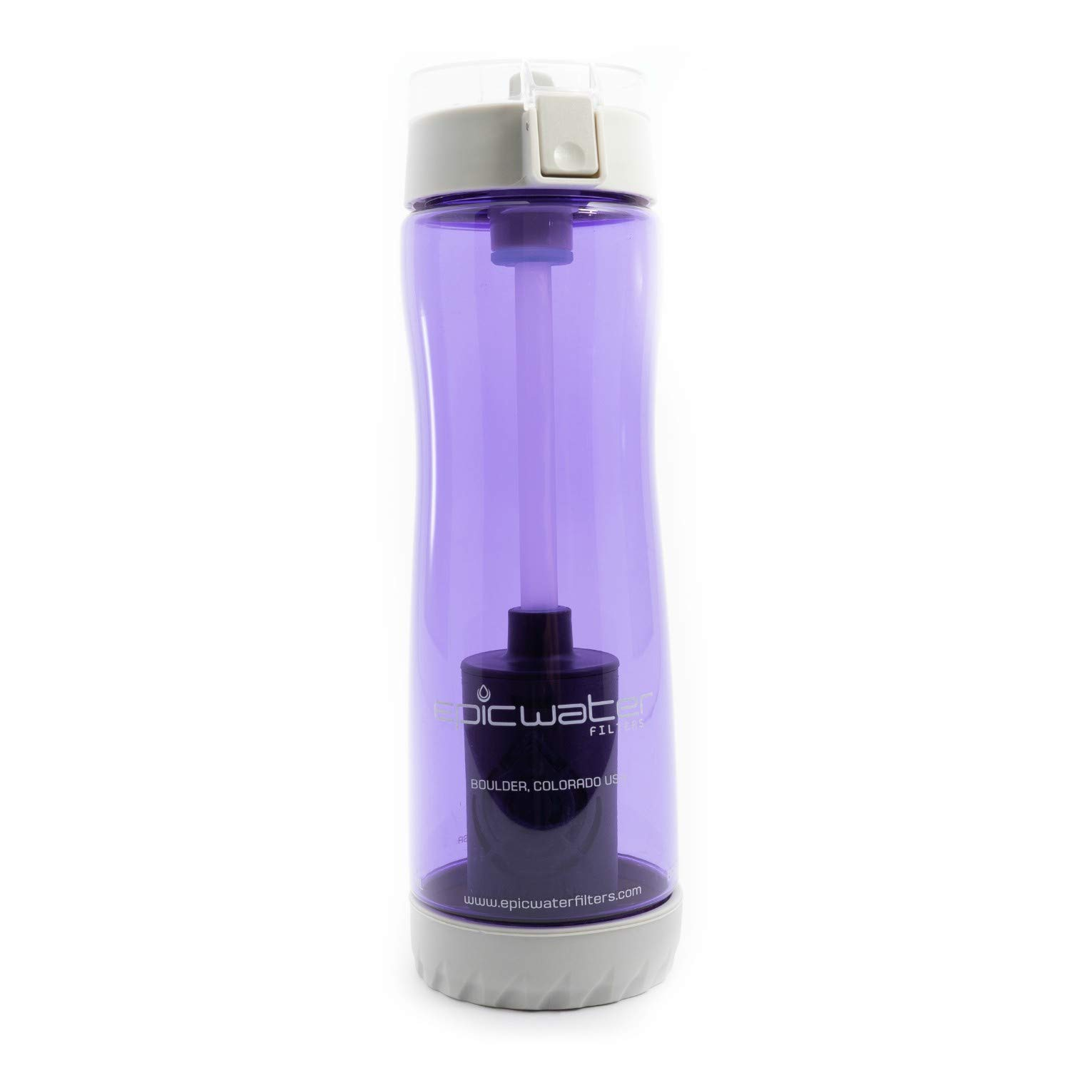 Epic Tritan Series Water Filtration Bottle (with 1 Everyday Filter) | Removes Lead, Chromium 6, Fluoride, Chlorine, Heavy Metals, PFOA/PFOS, Plastic Fibers & 65+ More Tap Water Contaminants | 800mL (Purple) Epic Life Inc.