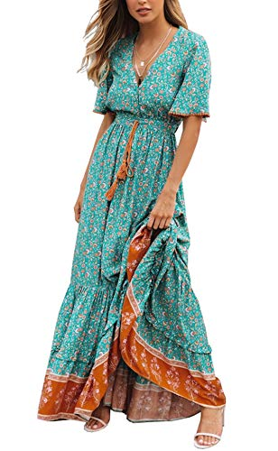 R.Vivimos Womens Summer Cotton Short Sleeve V Neck Floral Print Casual Bohemian Long Dresses (Large, Green)