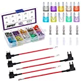Swpeet 120Pcs Car Blade Fuses with 5Pcst Fuse TAP Adapter and Terminal Assortment Kit, Small (2A/3A/5A/7.5A/10A/15A/20A/25A/30A/35A) ATO/APR/ATC Fuse Car Kit Fit for Assorted Auto Truck Boat Truck