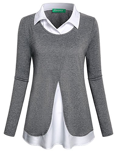 Kimmery Work Shirts for Women, Office Long Sleeve Tops Classic Collar 2 in 1 Style Pullover Contrast 2018 Fashion Blouse Feminin Cute Easy Care Clothing for Autumn Gray Large
