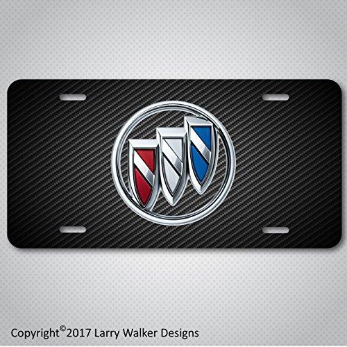 Buick Emblem Logo on Carbon Fiber Look Aluminum License Plate Tag New