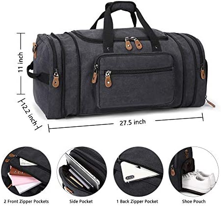 Plambag Travel Duffle Bag with Shoe Compartment 60L Canvas Duffel Overnight Weekend Bag(Dark Gray)