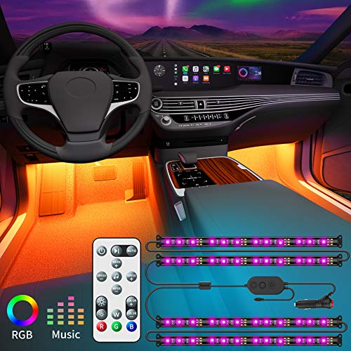 Govee Car Interior Lights with Remote and Control Box, Upgraded 2-in-1 Design Interior Car LED Lights with 32 Colors, 48 LEDs Lighting Kit Sync to Music with Super Length Wires for Various Car, DC 12V