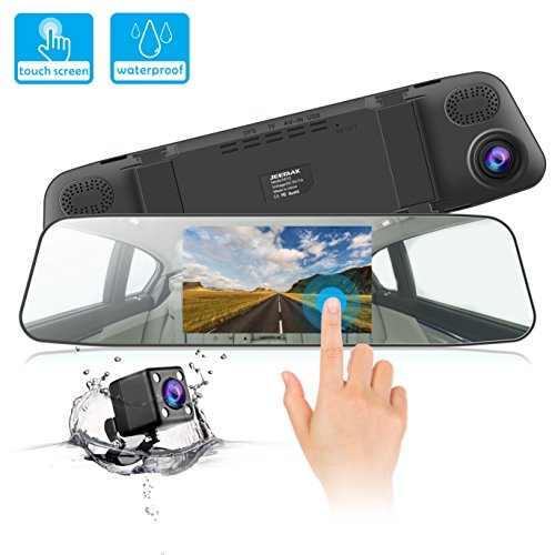 Dash Cam JEEMAK 1080P IPS Touch Screen 170° Wide Angle Truck Rearview Dash Camera Vehicle Recorder, Car DVR with Parking Monitor WDR Loop - Rear Hand Mirror View