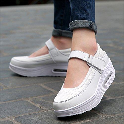 Scarpe Zeppa Donna Tacco Estate Autunno Fibbia per Primavera Comfort Casual tulle Sneakers Rotonda Suole D da Leggere Punta vAUxrwqnvC