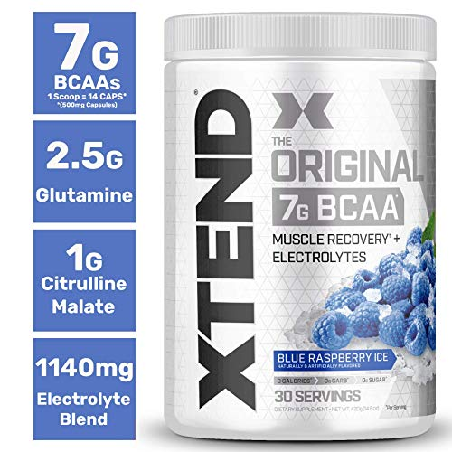 Scivation Xtend Bcaa Powder, 7g bcaas, Branched Chain Amino Acids, Keto Friendly, Blue Raspberry Ice, 30 Servings