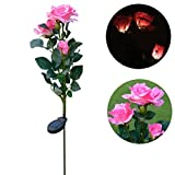 WARMSHOP 3/5 Head Solar LED Decorative Outdoor Lawn Lamp 5 Head Of Solar Butterfly Orchid (Pink-C(3 Head))