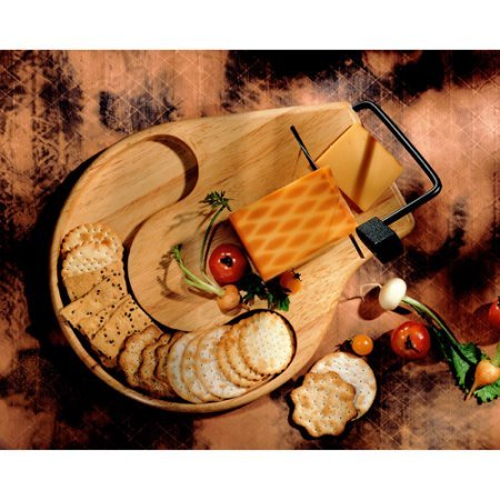 PACK OF 2 - Prodyne Beechwood Round Contour Cheese Slicer/Server Tray