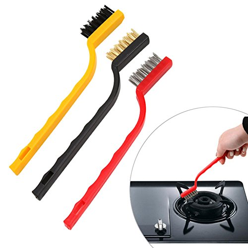 Arbor Home Kitchen Bathroom Multifunction Cleaning Brush Pack Of 3 Kind Of Washing Brushes Including 1 Stainless Steel Brush, 1 Copper Brush, 1 Nylon Brush (Face Gas Stove)