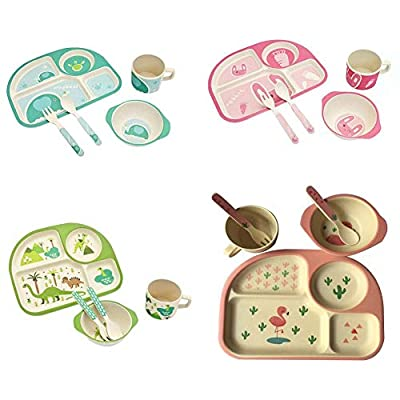 sweetyhomes Dinner Set Children's Bamboo Fiber Cutlery Baby Feeding Bowl Fork Spoon Cup Environmentally Friendly Cartoon Tableware Plates dinnerware eco Dishwasher Plate self-Feeding