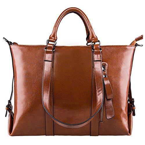 S-ZONE 3-Way de cuero genuino de las mujeres bolsos de hombro del bolso de la bolsa de asas marrón
