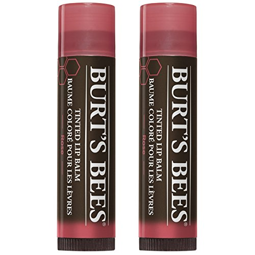 (Burt's Bees 100% Natural Tinted Lip Balm, Rose with Shea Butter & Botanical Waxes - 1 Tube, Pack of 2)