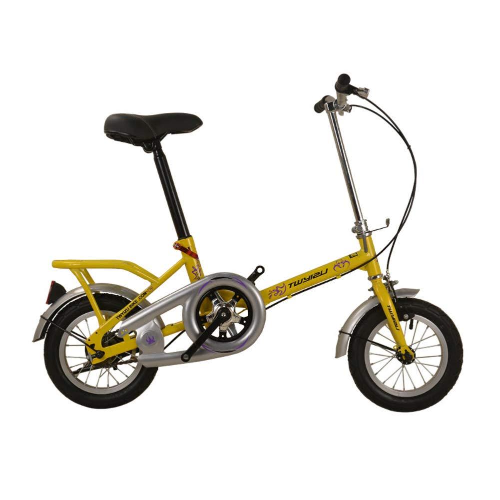 Bicicletas de los niños,Sencillo Doble Pliegue Freno Doble Estudiante 12 16 20 Pulgadas 8-14 años-Amarillo 51.2inch