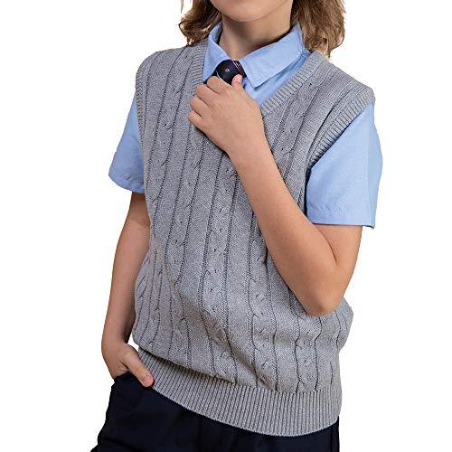 (Benito & Benita Boys Uniform Vest V-Neck Cable School Sweater Vest for Boys/Girls 3-12Y)