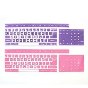 2pcs universal del teclado del silicón de la piel de Cine fucsia púrpura por ordenador