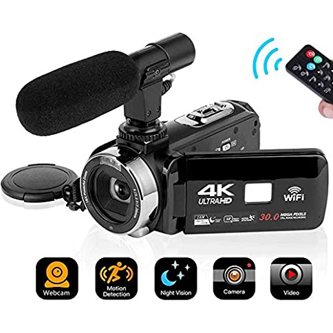 - 51JA9aAJrHL - 4K Video Camera Camcorder Digital Camera WiFi Video Camcorder 3.0 inch Touch Screen Night Vision Vlogging Camera Camcorder with Microphone