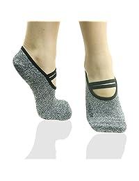 RANDY SUN Women's Ballet Grip Sock for Barre Pilates Yoga Non Slip with Silicone