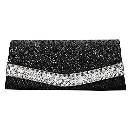 Shimmering Trapezoidal Black Glittered Rhinestone Clutch Evening Bag Luscious Shiny Party Handbag