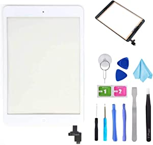 T Phael White Digitizer Repair Kit for iPad Mini 1&2 A1432 A1489 Touch Screen Digitizer Replacement with IC Chip + Home Button + Tools + Pre-Installed Adhesive