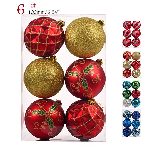 Teresas Collections 6ct 100mm Country Road Red Green and Gold Shatterproof Christmas Ball Ornaments Decoration,Themed with Tree Skirt(Not Included)