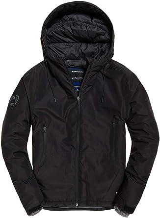 Superdry Men/'s Black Elite Windcheater Hooded Zip Jacket