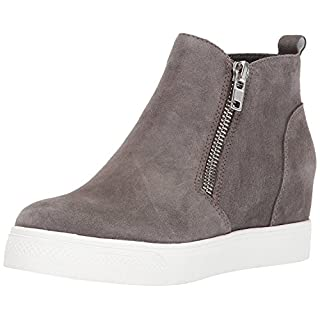 Steve Madden Women's Wedgie Sneaker, Grey Suede, 5.5 M US