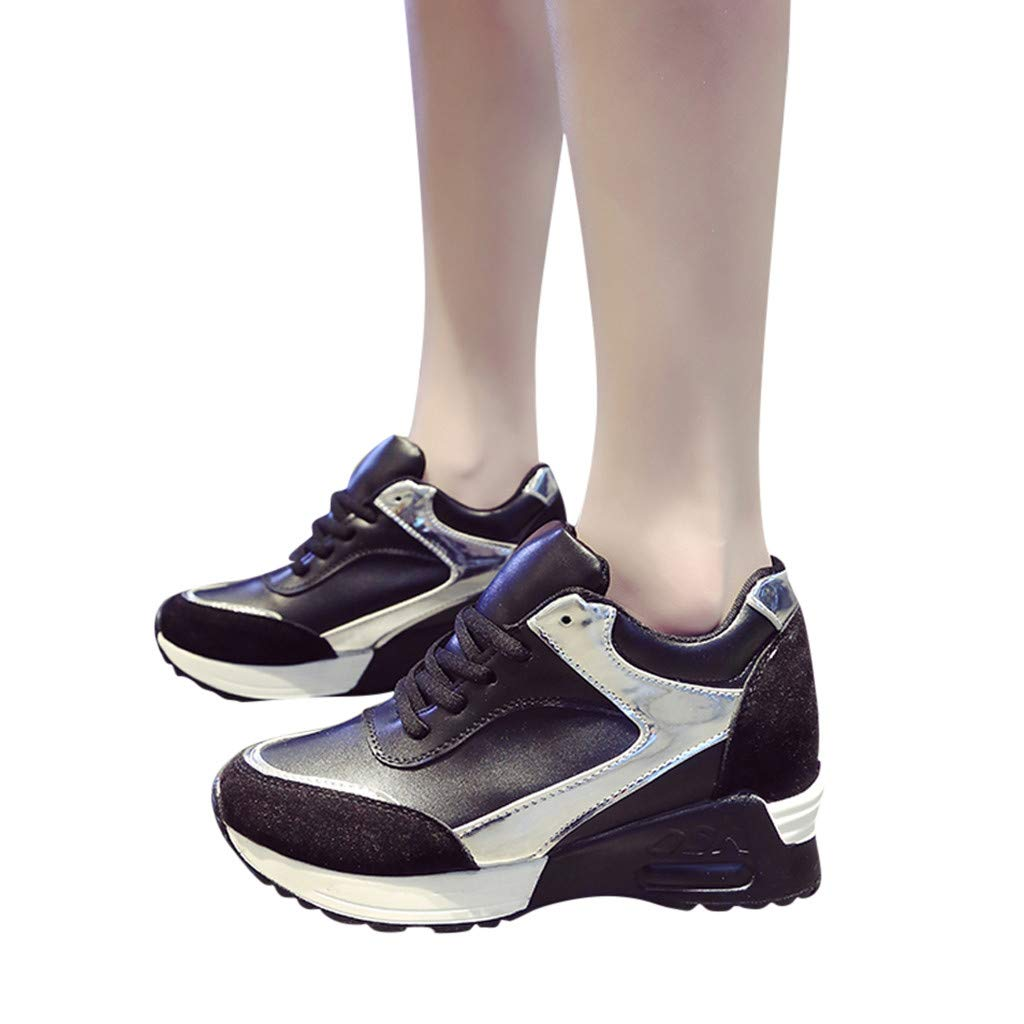 Moonker Wide Width Casual Shoes Sneakers for Women Ladies Fashion Wedges Increased Within Sport Shoes Running Shoes
