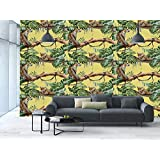 Large Wall Mural Sticker [ Watercolor,Leopards in the Jungle Tropical Scene Tree Branches and Leaves Decorative,Yellow Green Pale Yellow ] Self-adhesive Vinyl Wallpaper / Removable Modern Decorating W