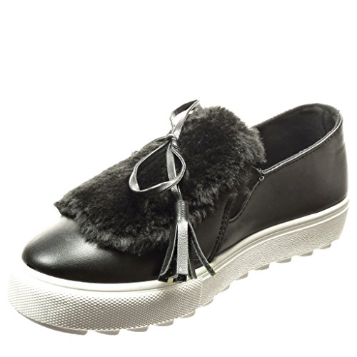 Angkorly Women's Fashion Shoes Trainers - Platform - Slip-on - Fur - pom pom - Thong Wedge Platform 3.5 cm cm Black TwVqOyE