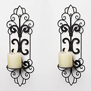 Adeco Decorative Iron Vertical Wall Hanging Pillar Candle Holder, Traditional (Set of 2)