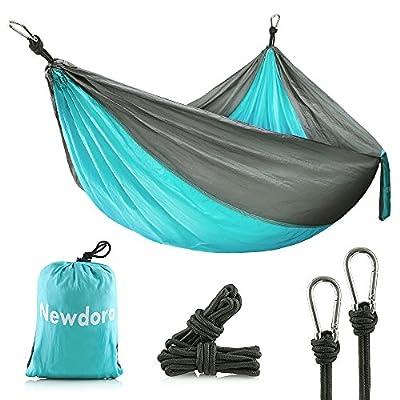 "Newdora Camping Hammock - Lightweight Nylon Portable Hammock, Best Parachute Double Hammock for Backpacking, Camping, Travel, Beach, Yard. 105""(L) x 56""(W)"