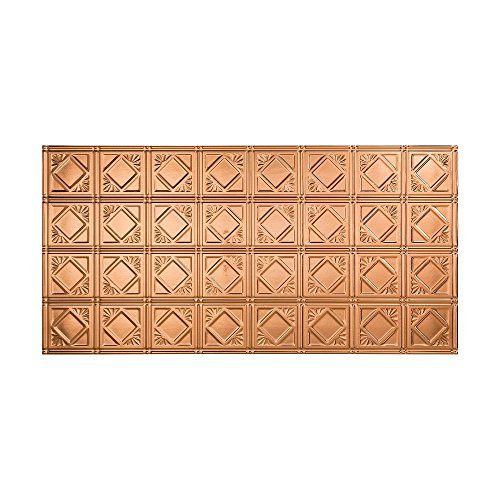 FASÄDE Easy Installation Traditional Style/Pattern #4 Polished Copper Glue Up Ceiling Tile/Ceiling Panel (One 2' x 4' Tile) ()