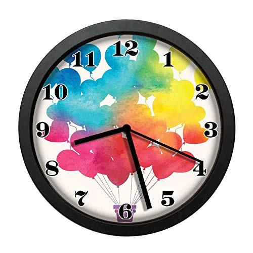 - wojuedehuidamai6 Art Wall Clock- Hot Air Balloon Rainbow Colors Cute Heart Shapes Cheerful Happy Decor Wall Clock for Home and Office with 10in