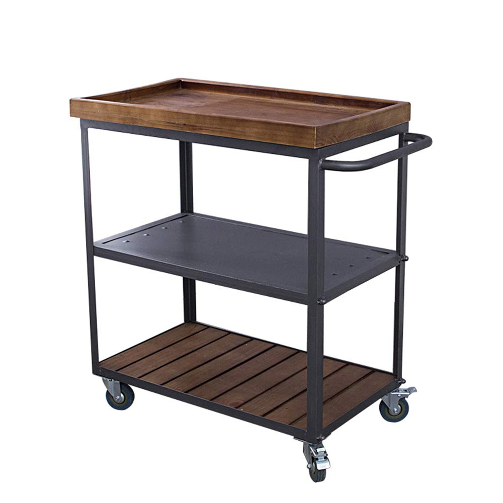 Amazon.com   Trolley Chunlan Distressed Solid Wood Kitchen Bar Cart,  Detachable Top Panel, Utility Dining Car, 60 40 70cm   Kitchen Islands U0026  Carts