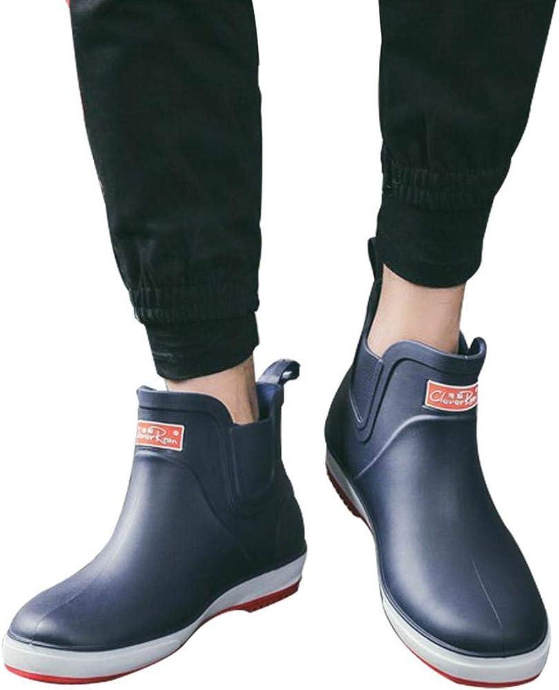 YYW Mens Chelsea Ankle Rain Boots Casual Anti-Slip Outdoor Waterproof Short Slip-on Rain Shoes