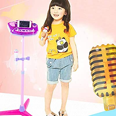 AMOFINY Baby Toys Microphone Microphone Karaoke Toy Kids Karaoke Machine with 2 Microphones Adjustable Stand Music Play Toys Set
