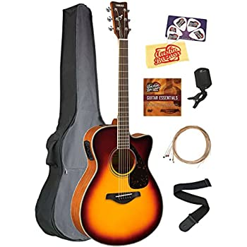 yamaha fsx820c small body acoustic electric guitar bundle with gig bag tuner strap. Black Bedroom Furniture Sets. Home Design Ideas