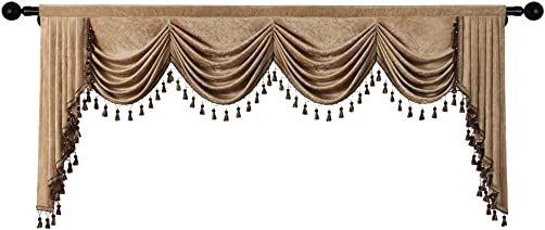 ELKCA Double-Sided Chenille Waterfall Valance for Living Room Luxury Window Curtains Valance for Bedroom Coffee, W110 Inch, 1 Panel