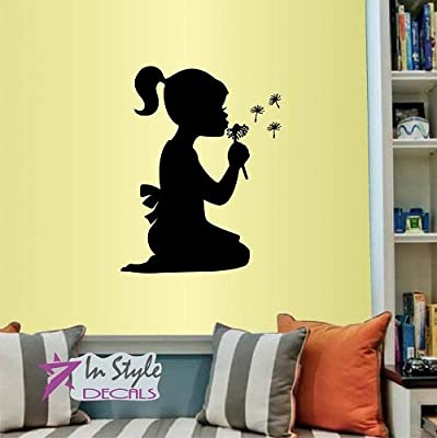 Wall Vinyl Decal Home Decor Art Sticker Cute Little Girl Blowing Away Dandelion Kids Bedroom Nursery Room Removable Stylish Mural Unique Design