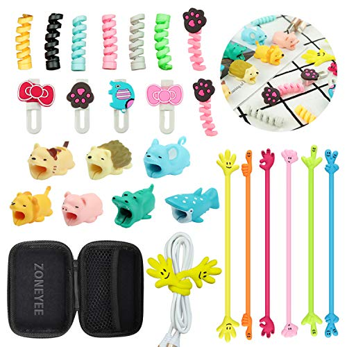 Animal Bite Cable Protector,ZOYJITU 27Pcs Set Include 15Pcs Cable Protector, 4Pcs Phone Stand,6Pcs Cable Organizer,4Pcs Headphone Cable for Phone Data Line Protector Cell Phone Accessories from Zoyijituan