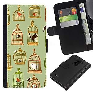 KLONGSHOP // Tirón de la caja Cartera de cuero con ranuras para tarjetas - Jaula de color verde oscuro en colores pastel Significado - LG G3 //