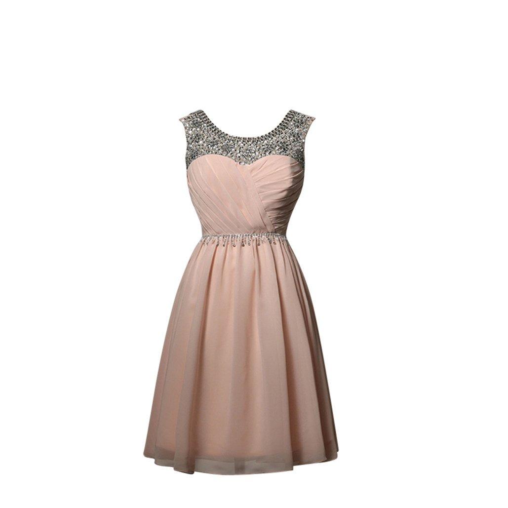 Missfox Vestido Cócte De Gala Para Mujer Con Cuentas XS Pink