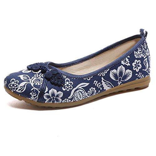 Flats Slip Flower Feminino Old 7 Linen Vintage Women Fabric Embroidered Comfortable Sapato Kenavinca Shoes On Ballerina Flat Cotton 6 Peking Blue PTptnXI