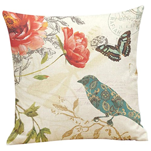 Ninasill Painting Birds Pillow Case Cushion Cover Pillow Case 45cm45cm Pillow Case Home Decor (Multicolor 1)