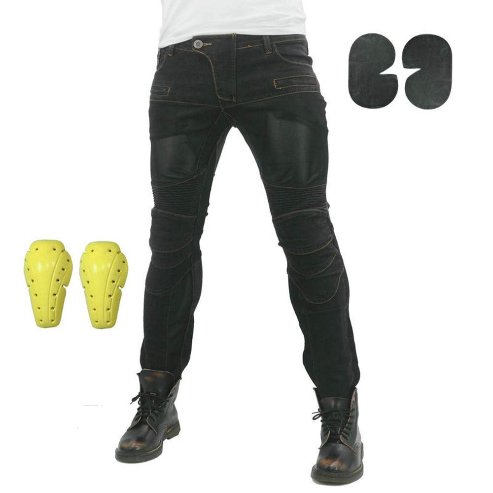 Pantalones De Motocicleta El/ásticos Y Transpirables Con 4 Almohadillas Protectoras Desmontables Pantalones De Motocicleta Anti Ca/ída Negro,S Pantalones Vaqueros Para Montar En Moto Para Hombre