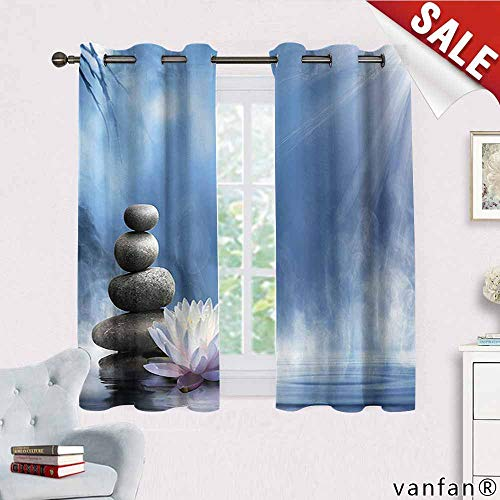 (Spa Decor Collection curtain set for living room,Purity of the Zen Massage Magic Lily Stones Sunbeams Spirituality Serenity Picture Print Cute Drapes for Space Themed ,Blue Dimgray W55