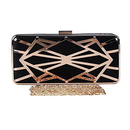 Fashion Bag Chain Square Water Shell Clutch Metal Bag Exquisite Polyester Women's Cube Small Bag Hollow Hard Handbag Black Evening HqOwrHa